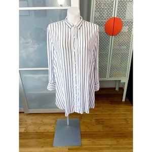 GAP High Slit Drape Shirtdress - Navy White Stripe